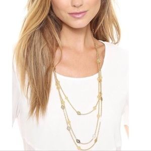 Tory Burch Gold Logo Charm Rosary 📿 Necklace